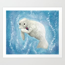 Manatee and Butterfly Watercolor and Digital Art Art Print