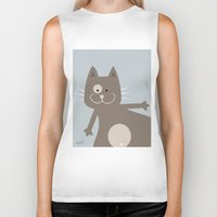 my mad fat diary Biker Tanks featuring Fat Cat by nellifant