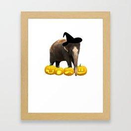 Halloween Elephant Witch Hat Jackolanterns Framed Art Print