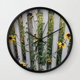 Fenced In Black Eyed Susans Wall Clock