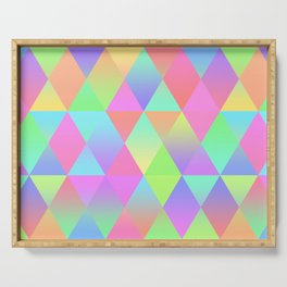 Colorful Geometric Pattern Prism Holographic Foil Triangle Texture Serving Tray