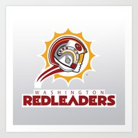 nfl Art Prints featuring Washington Red Leaders - NFL by Steven Klock