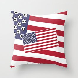 United States of Soccer Throw Pillow