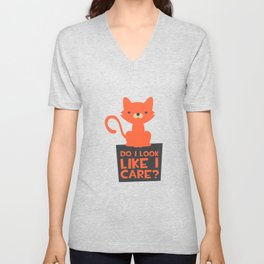 Funny Do I Look Like I Care Cat Unisex V-Neck