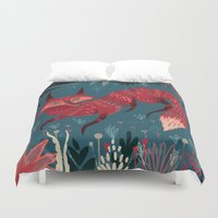 sweater Duvet Covers featuring F O X ! by Karl James Mountford