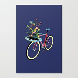 Bike and Flowers Canvas Print