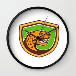 Jaguar Head Side Growling Shield Retro Wall Clock