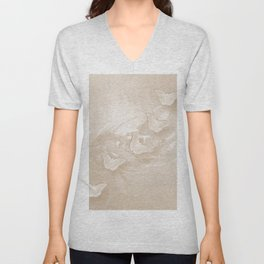 Fabulous butterflies and wattle with textured chevron pattern in subtle iced coffee Unisex V-Neck