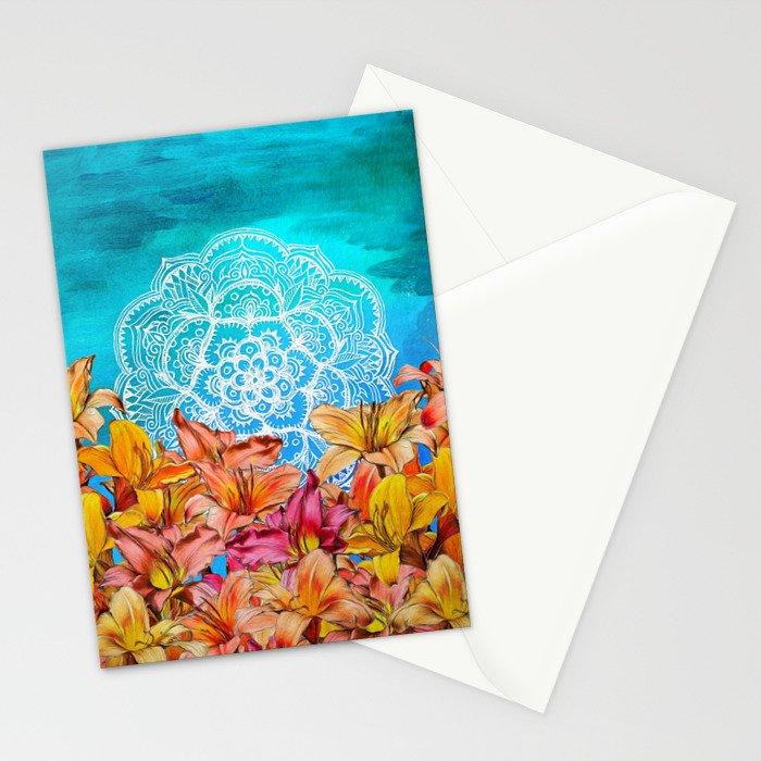Orange Lilies & White Mandala on Blue Stationery Cards