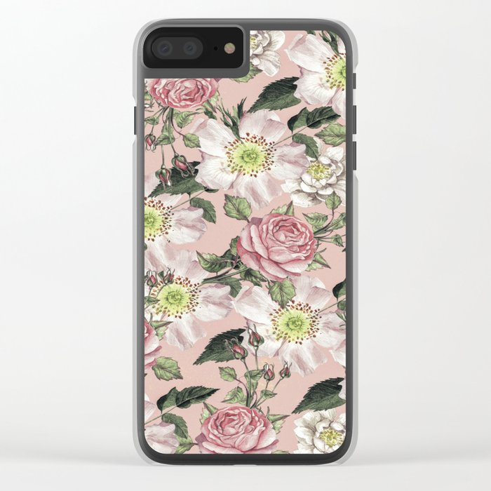 Vintage Rose Pattern Pink Clear iPhone Case