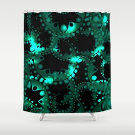 Abstract glowing pattern of soap bubbles and gears in azure design on a black background. Shower Curtain
