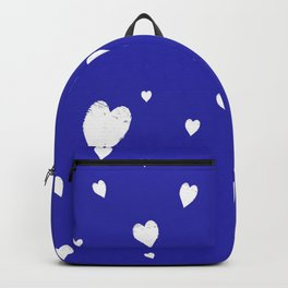 Hand-Drawn Hearts (White & Navy Blue Pattern) Backpack