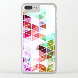 Pink Grungy Triangle Design Clear iPhone Case