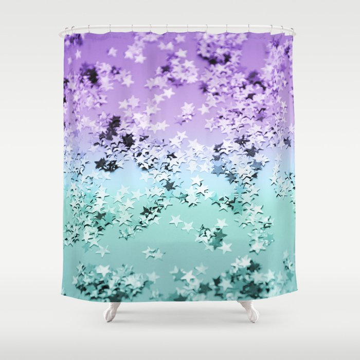 Mermaid Lady Glitter Stars 4 Shiny Decor Art Society6 Shower Curtain