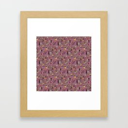 Wine and Cheese Pattern Print Framed Art Print