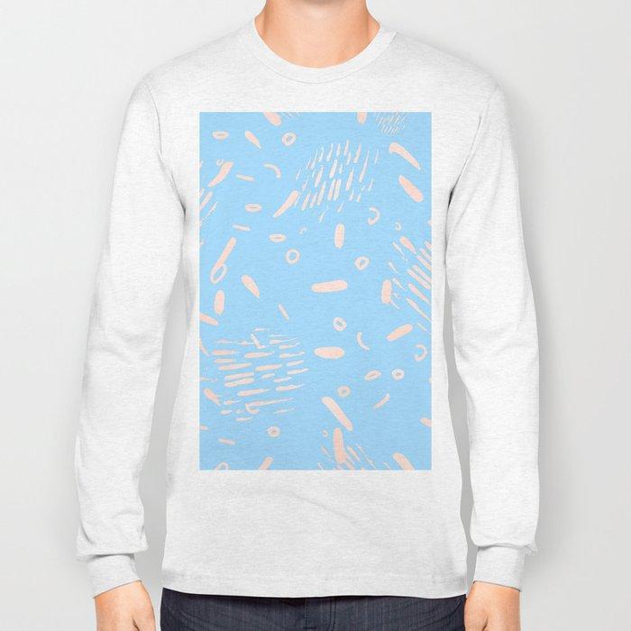Sweet Life Memphis Peach Coral Pink + Blue Raspberry Long Sleeve T-shirt