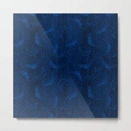 Flying Bat Embroidery // Dark Blue Metal Print