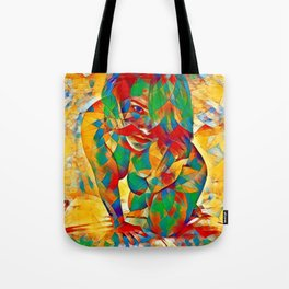 3334s-SRC Abstract Woman with Blue Eyes Rendered in Color and Style Tote Bag