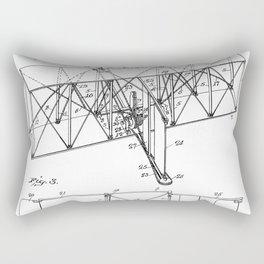 Wright Brother's Machine Patent - Airplane Art - Black And White Rectangular Pillow