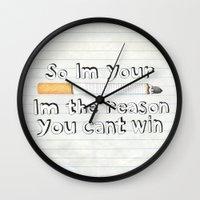 cigarette Wall Clocks featuring Cigarette by Larissa
