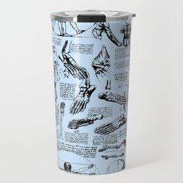 Da Vinci's Anatomy Sketchbook // Light Blue Travel Mug