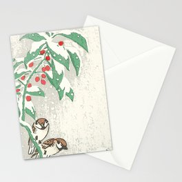 Christmas card Snow sparrows Stationery Cards