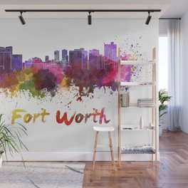 Fort Worth skyline in watercolor Wall Mural