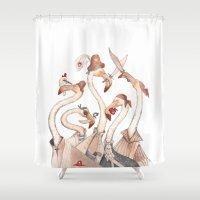 flamingo Shower Curtains featuring Flamingo by violaine costa