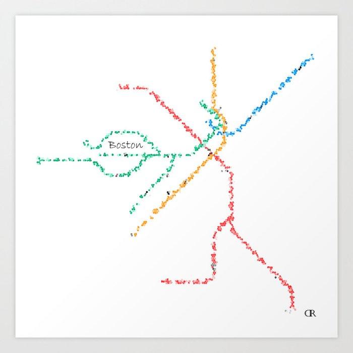 Subway Map Art Boston.Boston Subway Map Art Art Print By Mayamoussallieh