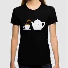 Tea Time! SMALL Black Womens Fitted Tee