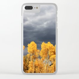 Golden Aspens and an Impending Storm Clear iPhone Case