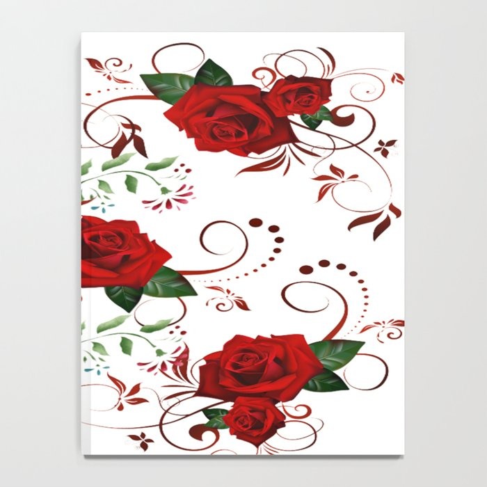 Enchanted Red Rose Abstract Notebook
