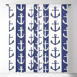 Nautical Sailor Stripes with Anchor Pattern Blue 241 Blackout Curtain
