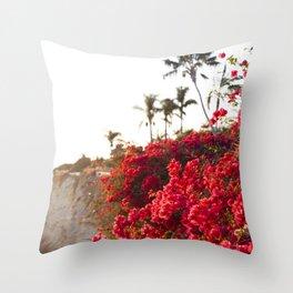 Bougainvillea & Palm Trees Throw Pillow