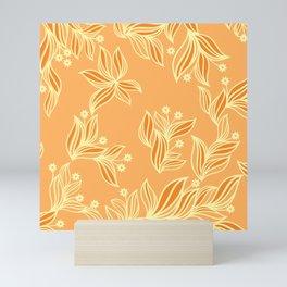 Orange Floral Pattern Mini Art Print