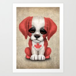 Cute Puppy Dog with flag of Canada Art Print