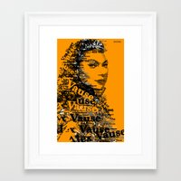alex vause Framed Art Prints featuring Alex Vause (Laura Prepon)-typography OITNB by ThousandWords