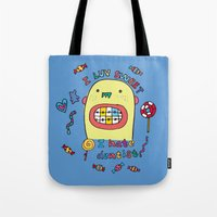 dentist Tote Bags featuring I hate dentist by PINT GRAPHICS