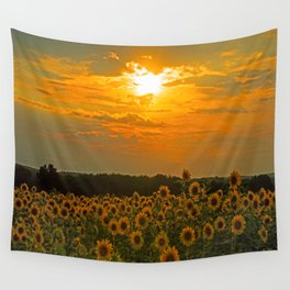 Field of Sunflowers at Sunset Wall Tapestry