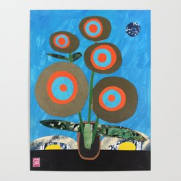 Blue Earth Flowers Poster