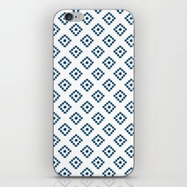 Geometrical abstract hand painted navy blue pattern iPhone Skin