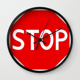 Red stop sign Wall Clock