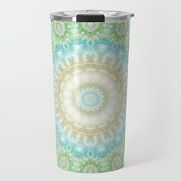 Earth and Sky Mandala in Pastel Blue and Green Travel Mug