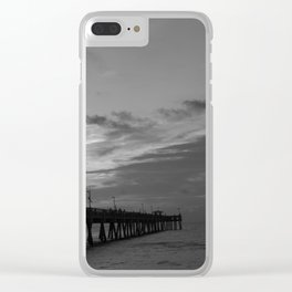 Fishing at the pier Clear iPhone Case