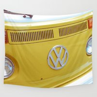 vw bus Wall Tapestries featuring Yellow VW Volkswagen Bus Van by Majokko Tay