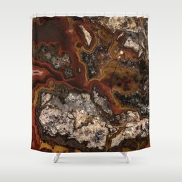 Twisted patterns of brown, red and beige stone Shower Curtain