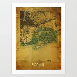 Brooklin 1898 vintage map, usa old vintage maps Art Print