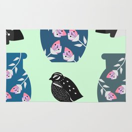 Quail, flowers and vases Rug