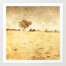 Rural Landscape with one tree Art Print