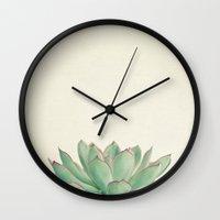 cassia beck Wall Clocks featuring Echeveria by Cassia Beck